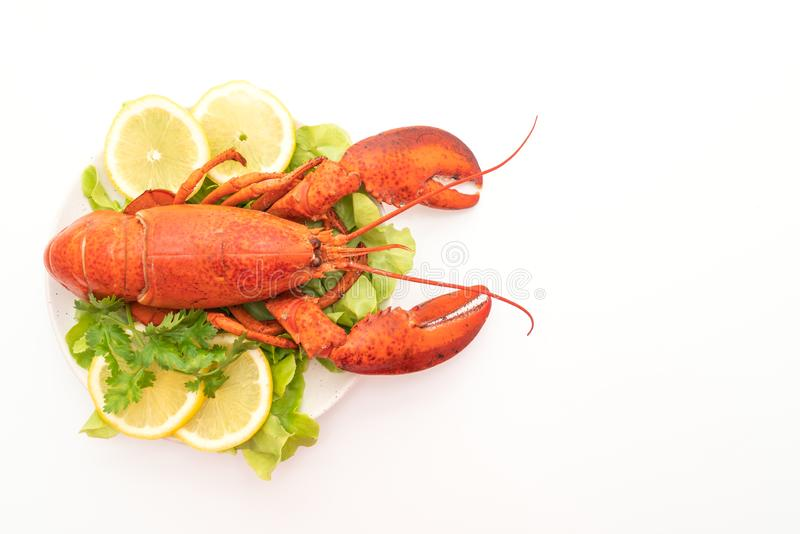 freshly boiled lobster with vegetable and lemon royalty free stock images