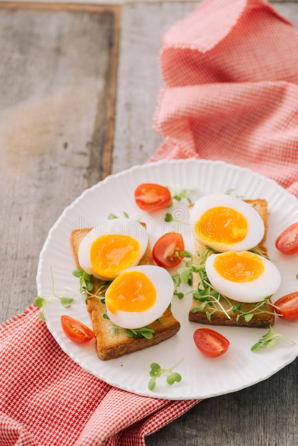 Freshly boiled white egg on wooden board. Healthy fitness breakfast. Freshly boiled white egg on wooden board. Healthy fitness breakfast royalty free stock photo