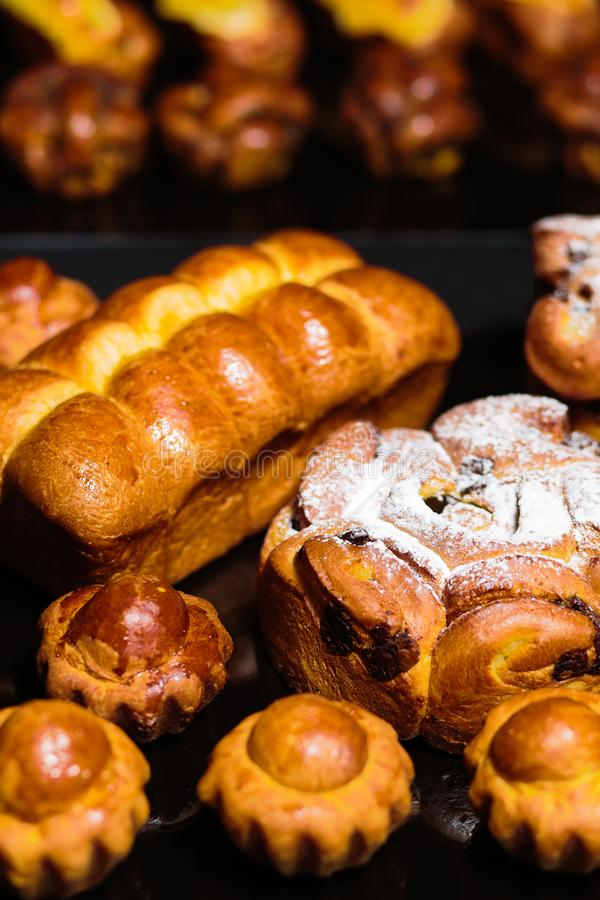 Download Freshly Bread Buns And Bakery Products On A Table Stock Photo - Image of market, agriculture: 105464912