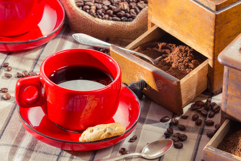 Freshly brewed black coffee stock photos