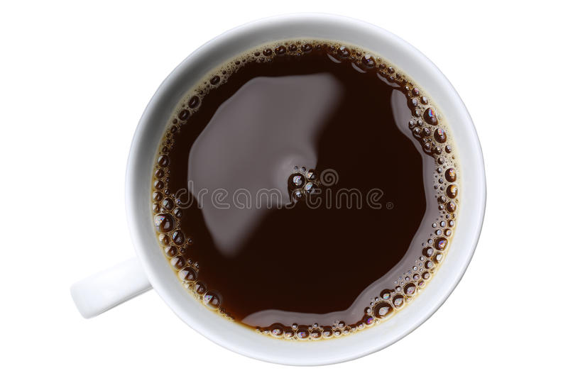 Freshly brewed coffee in a cup isolated royalty free stock photography