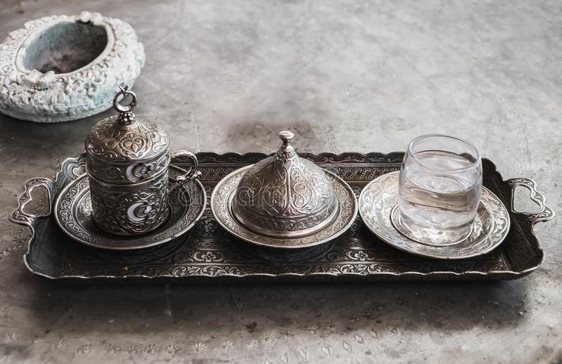 Freshly brewed coffee in the Middle East. Traditional coffee in Turkey stock images