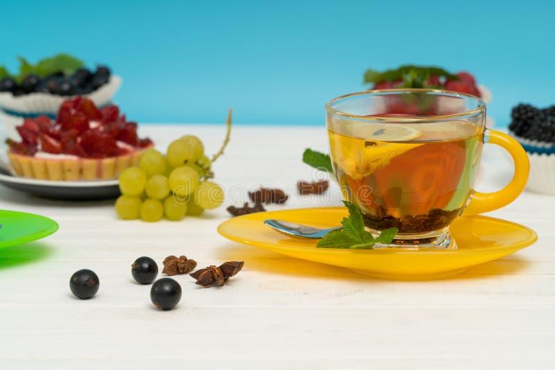 Freshly brewed hot spicy lemon tea stock photo
