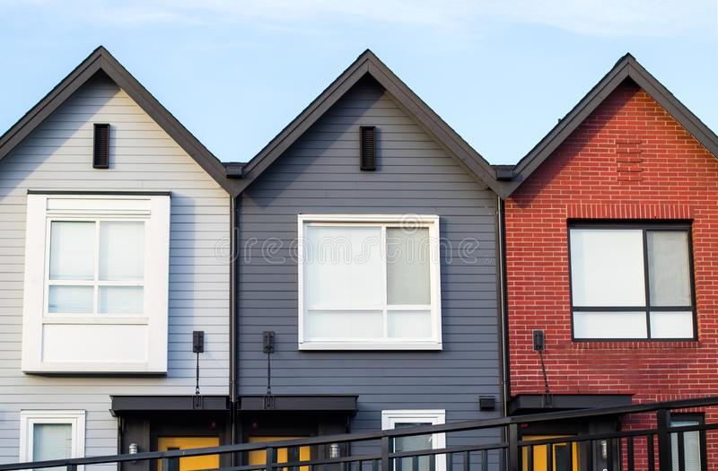 Freshly build townhomes in beautifull row. Freshly build townhomes beautifull row stock photo