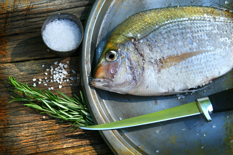 Freshly caught fish on cooking platter stock photography