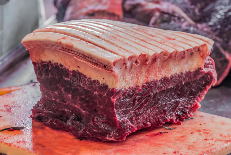 Freshly caught Minke Whale for Sale at a Butcher in Nuuk, Greenland. stock photo