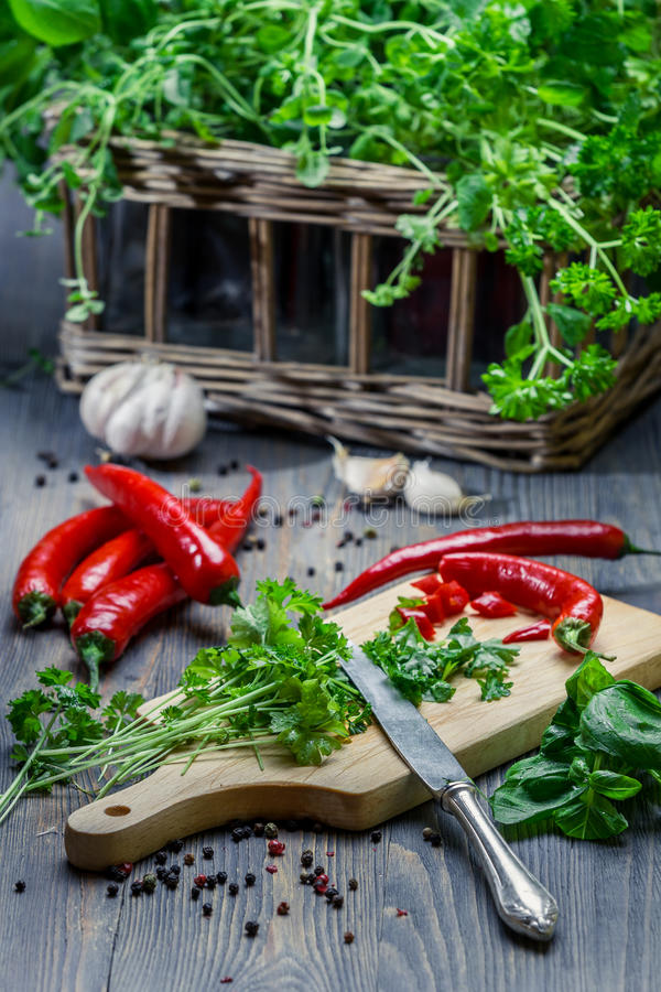 Freshly chopped spices and herbs royalty free stock photos