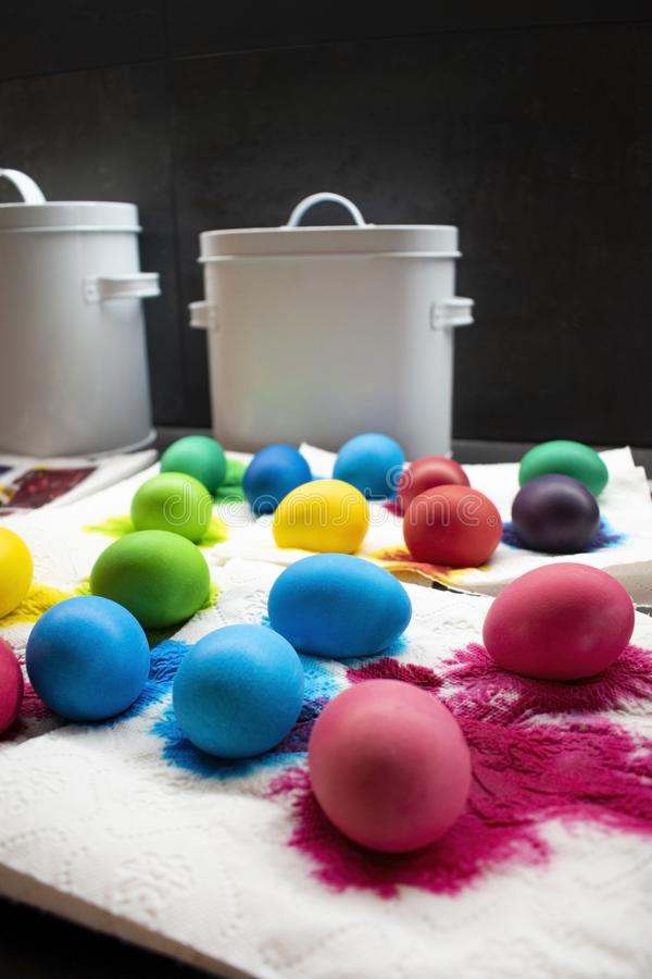 Freshly colored Easter eggs on paper napkin. stock photo