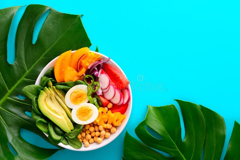 Freshly cooked Buddha bowl salad stock image