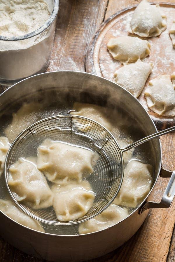 Freshly cooked homemade dumplings royalty free stock photos
