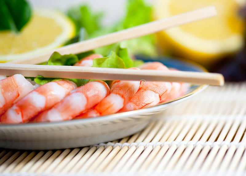 Freshly cooked prawns on a plate stock photo