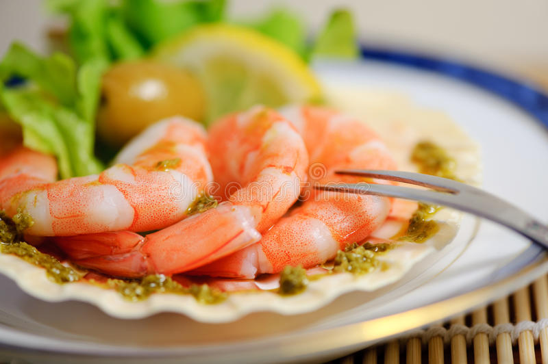 Freshly cooked prawns on a plate royalty free stock photos