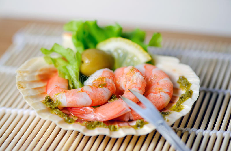 Freshly cooked prawns on a plate royalty free stock photography
