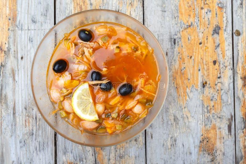 Freshly cooked Solyanka soup Solyanka stock photography