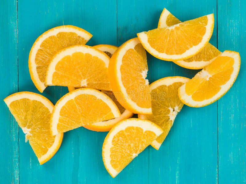 Freshly Cut Juicy Orange Slices or Segments royalty free stock photography