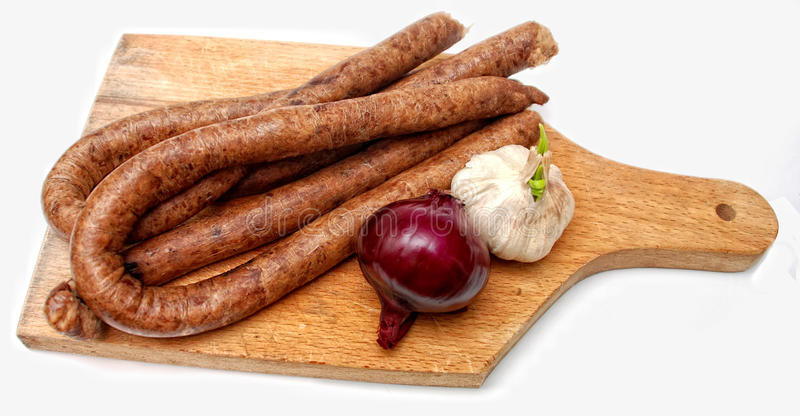 Freshly done traditional sausages royalty free stock photo