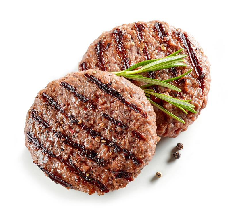 Freshly grilled burger meat royalty free stock photography