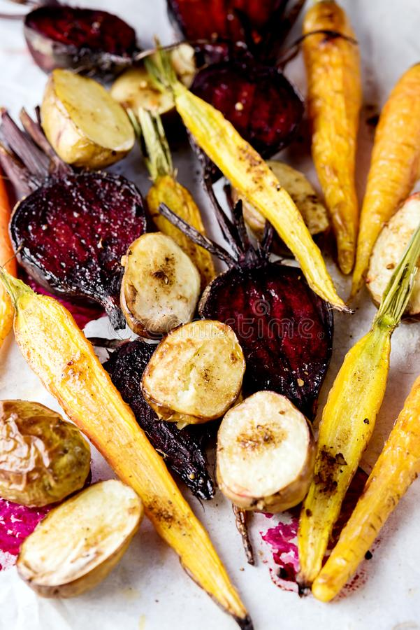 Freshly Grilled Vegetables Tasty Diet Vegan Food Grilled Carrots Beet and Potato royalty free stock images