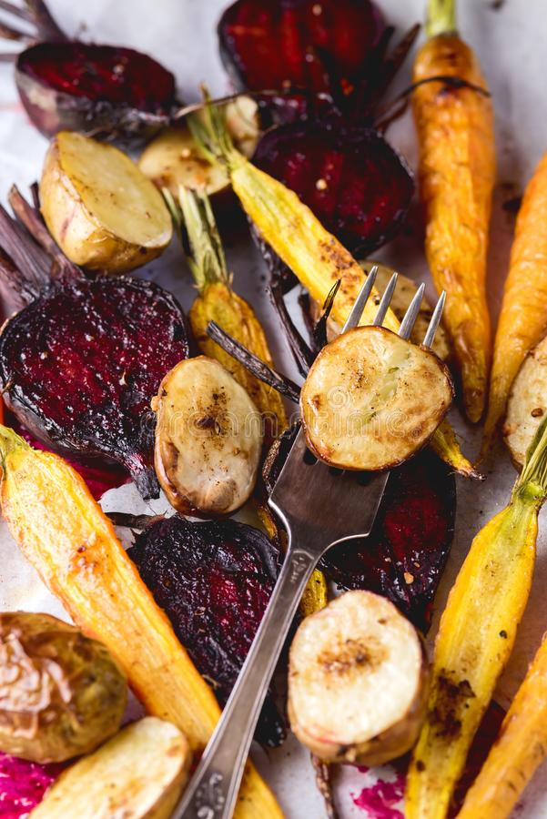 Freshly Grilled Vegetables Tasty Diet Vegan Food Grilled Carrots Beet and Potato Vertical royalty free stock photos