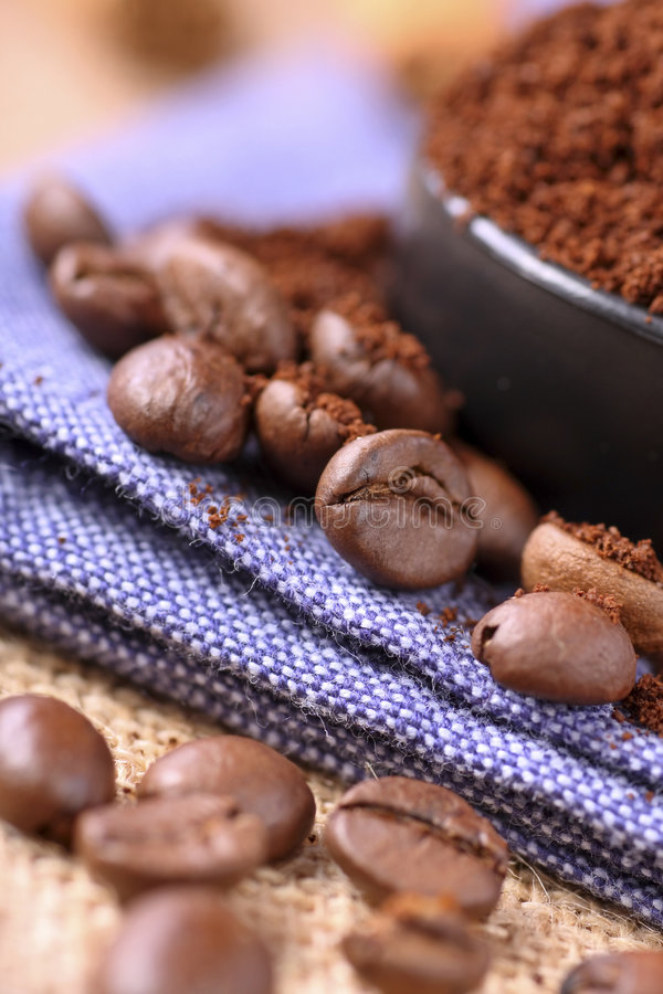Freshly ground coffee royalty free stock photography