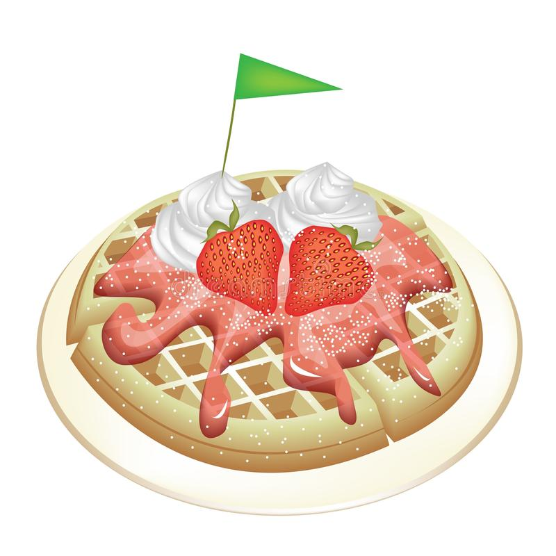 Tradition Waffle With Strawberries And Whipped Cre Stock Image