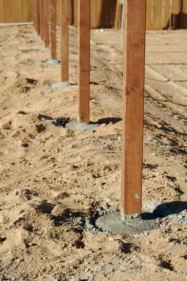 Download Freshly Installed Fence Posts. Stock Photo - Image: 3428718