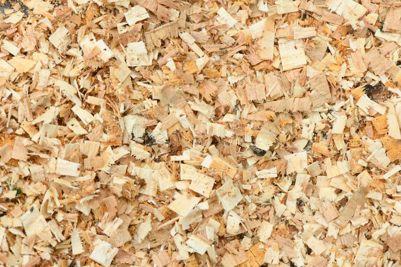 A Freshly Laid Layer of Large Garden Bark Woodchips. Woodchips used as safe soft surface in a childrens play park, Top Down View. High resolution photo. Full royalty free stock photos