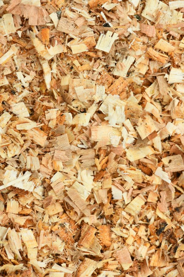 A Freshly Laid Layer of Large Garden Bark Woodchips. Woodchips used as safe soft surface in a childrens play park, Top Down View. High resolution photo. Full royalty free stock images
