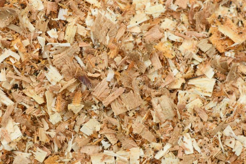A Freshly Laid Layer of Large Garden Bark Woodchips. Woodchips used as safe soft surface in a childrens play park, Top Down View. High resolution photo. Full royalty free stock photography
