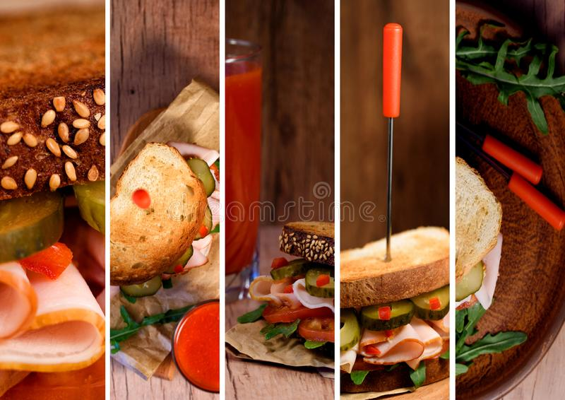 Freshly made clubsandwiches served on a wooden chopping board. Collage royalty free stock images