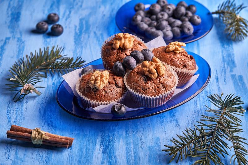 Freshly made homemade muffins with blueberries and walnuts on a blue plate on a blue wooden background. Top view at an angle royalty free stock image