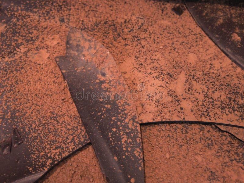 Freshly melted chocolate leaves. stock image