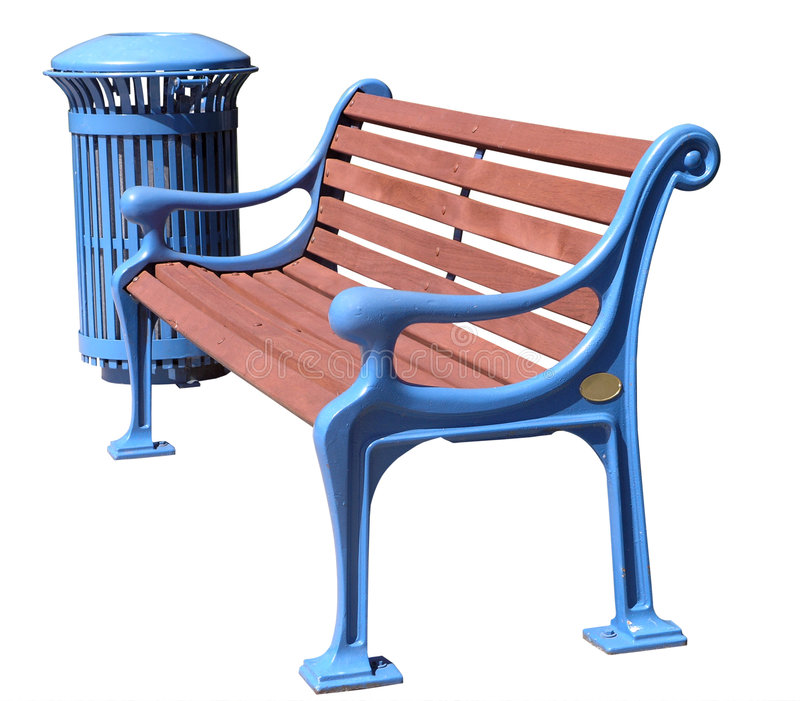 Freshly Painted Blue Park Bench And Rubbish Bin Stock Photos