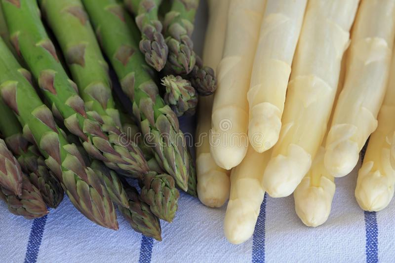 Freshly Picked green and white Asparagus Spears stock images