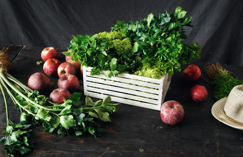 Freshly picked herbs apples wooden box harvesting. Freshly picked herbs and apples in wooden box harvesting concept stock photography