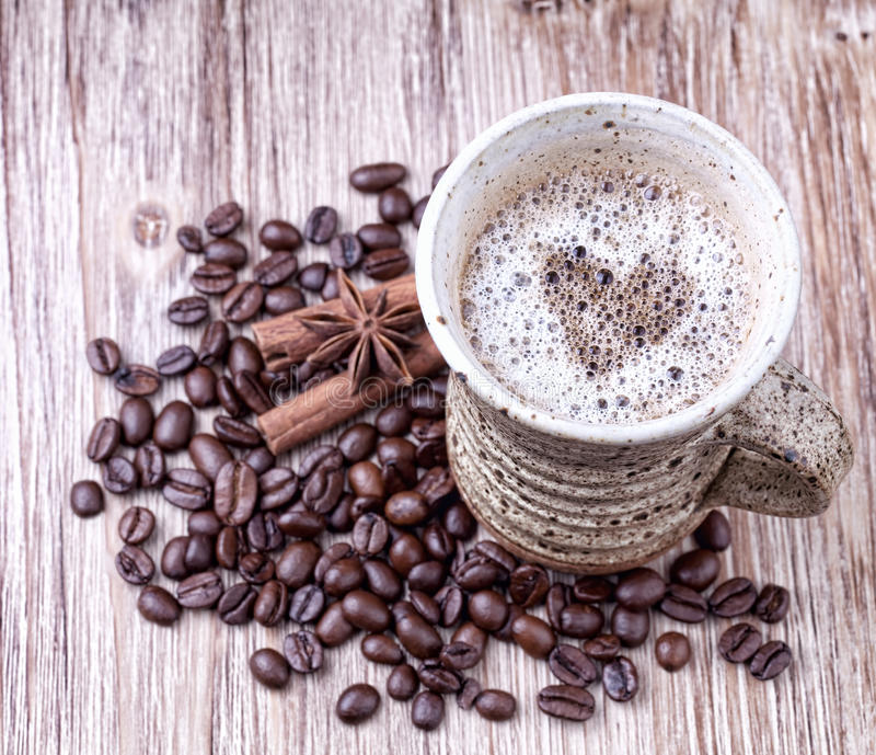 Freshly prepared cup of black coffee royalty free stock photos