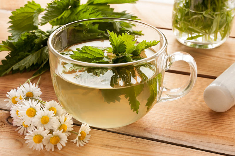 Freshly prepared nettle tea on a wooden table. With daisies, nettles and wild edible plants in the background stock images