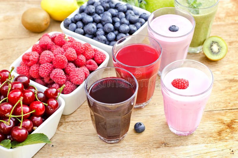 Freshly prepared organic drinks stock photos