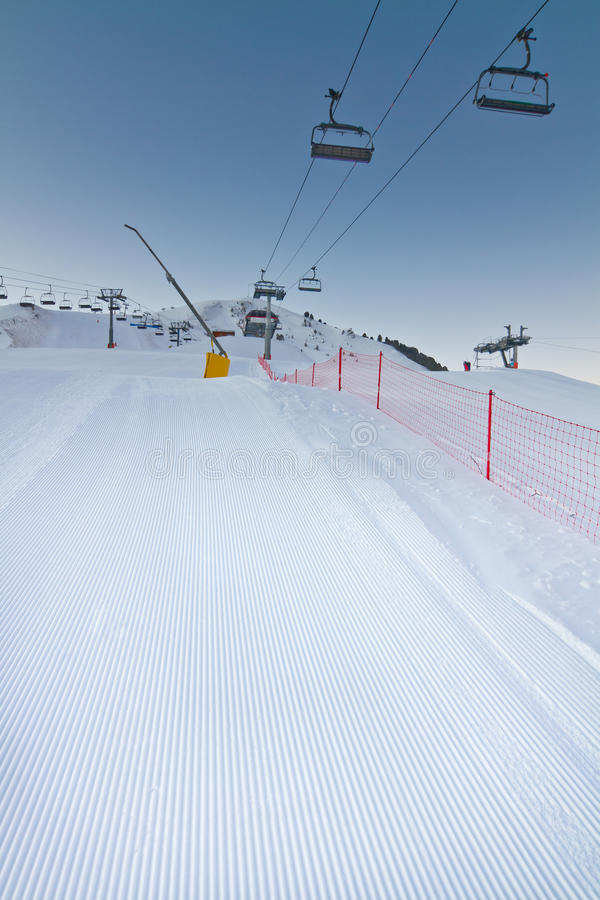 Download Freshly Prepared Ski Slope With Chair Lifts Stock Image - Image: 23109187