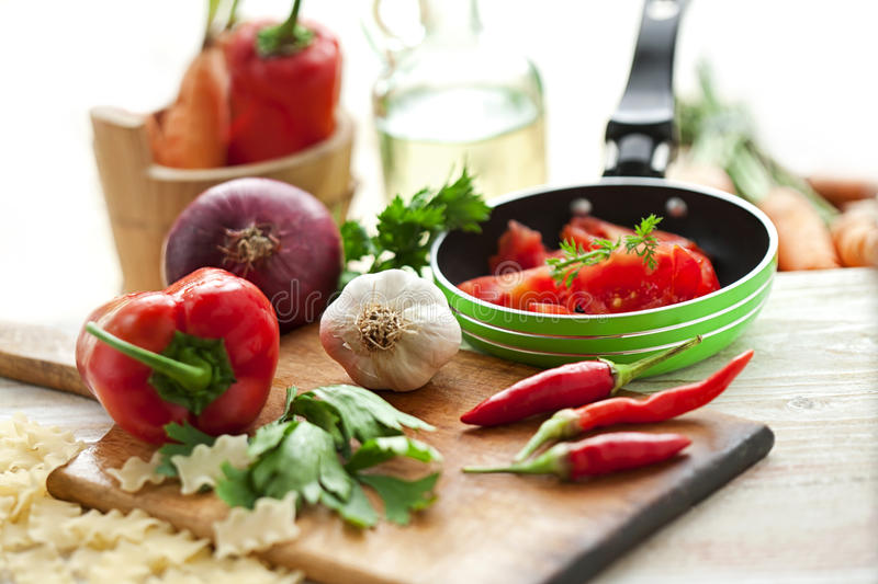 Freshly prepared vegetables for cooking. Vegetarian food-cooking stock photography