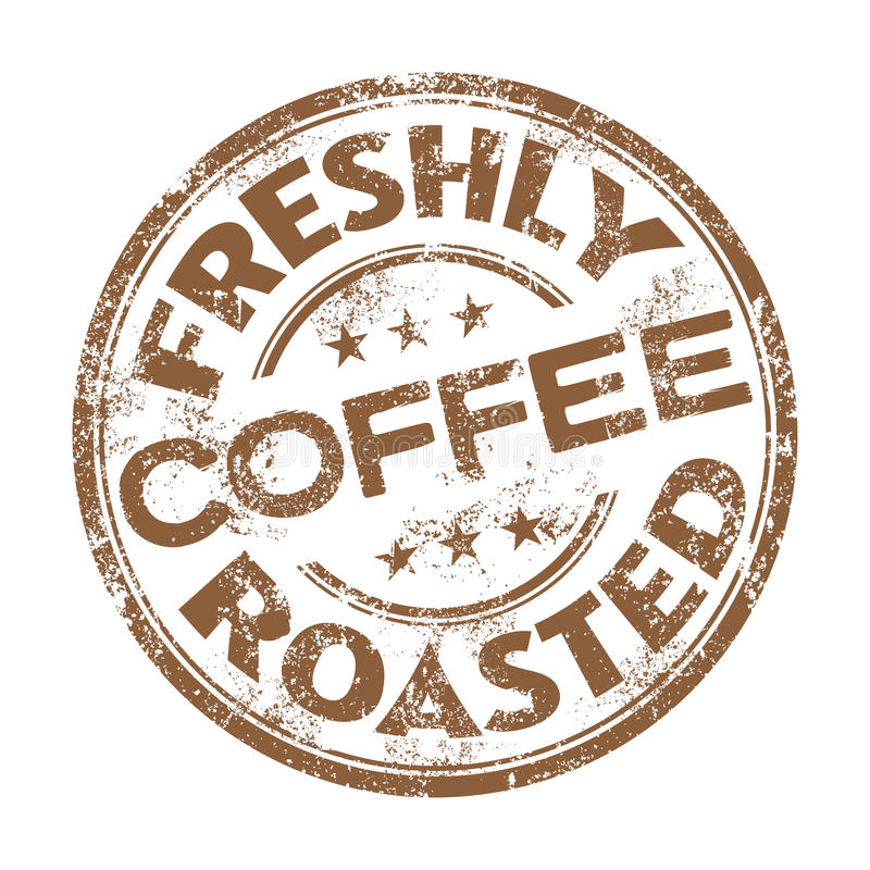 Freshly roasted coffee rubber stamp stock image