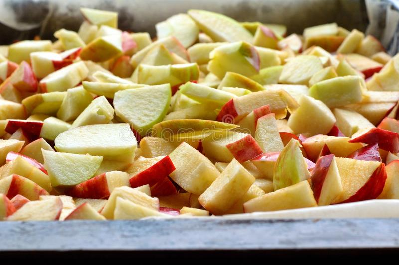 Freshly sliced apples royalty free stock photo