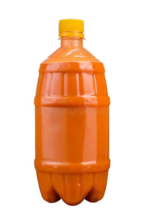 Freshly squeezed juice in a plastic bottle. Lemonade on take-away on a white background. Fresh Juice. stock photography