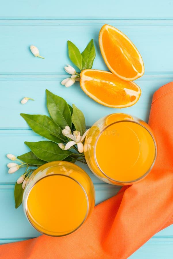 Freshly squeezed orange juice stock photos
