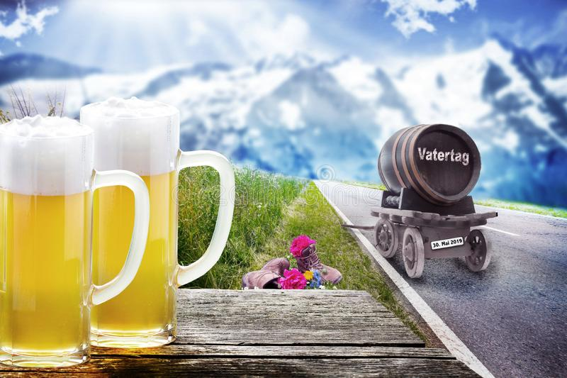 Freshly tapped beer for Father`s Day, Cheers. Freshly tapped beer for Father`s Day tour, rest at the counter royalty free illustration