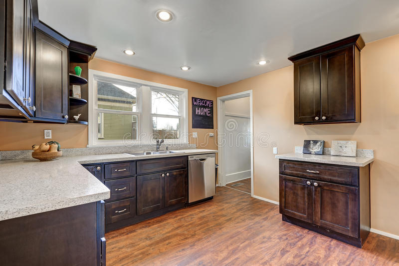 Freshly updated kitchen with quartz counters and steel appliances. Freshly updated kitchen with quartz counters and stainless steel appliances. Northwest, USA royalty free stock photography