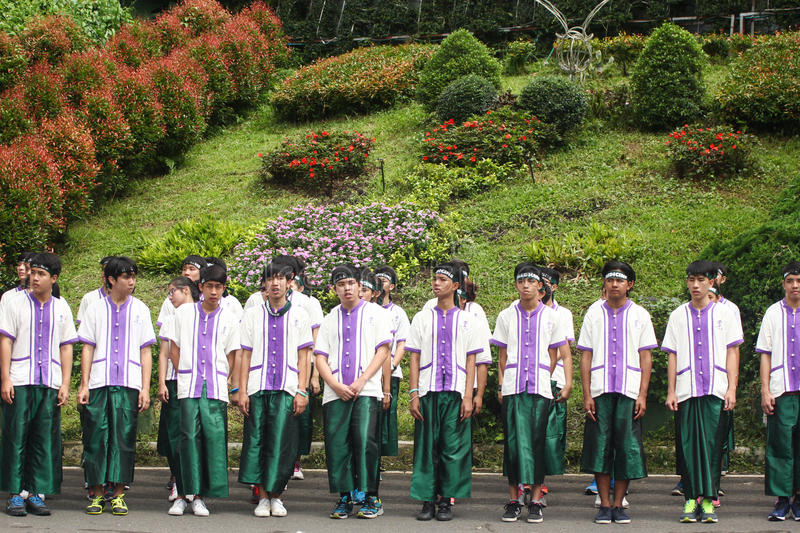 Freshmen Welcoming Ceremony of Chiang Mai university, Thailand. Chiang Mai, Thailand - September 12, 2015: student from Chiang Mai university (CMU) waiting to royalty free stock images