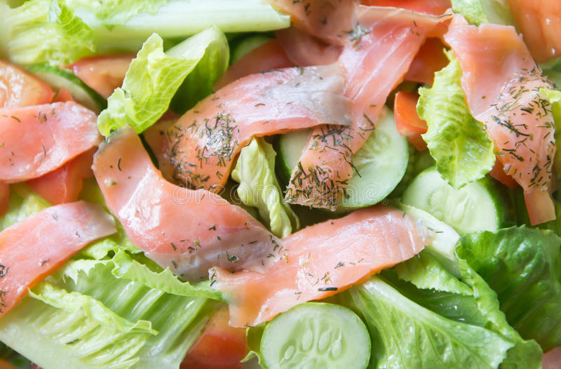 Freshness Slice Smoked Salmon Salad Royalty Free Stock Photography