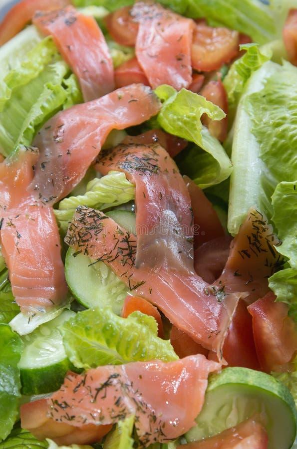 Freshness Slice Smoked Salmon Salad Stock Photography