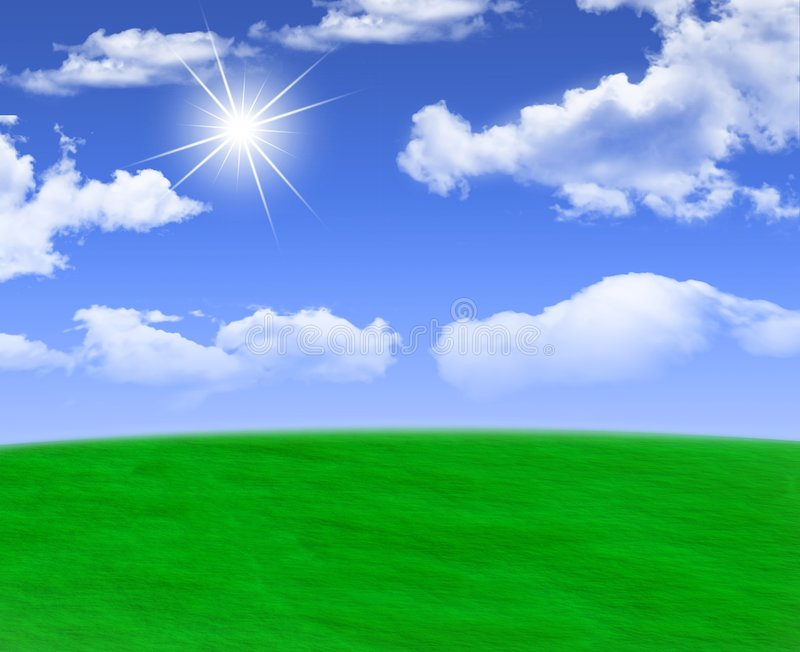 Freshness of spring. Sun shining through fluffy spring clouds over a beautiful green meadow stock illustration